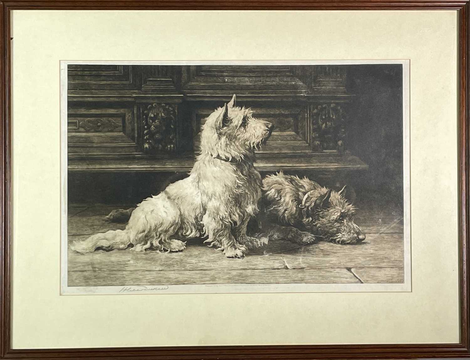 Herbert Thomas DICKSEE (1862-1942)'Footsteps', An Interior with Terriers (1925)Etching, published by - Image 2 of 3