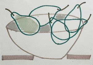 Jessica COOPER (1967)Chilled Pears Pen on paper Signed, inscribed and dated 2013 to verso 10.5 x