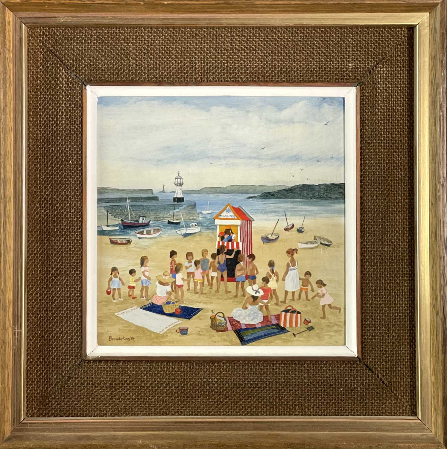 Brenda KING (1934-2011) Punch & Judy, St Ives Oil on board Signed and dated 1984, inscribed to verso - Image 3 of 3