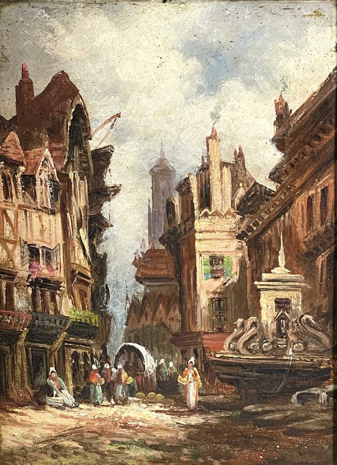 Follower of Henry Thomas SCHAEFER (1854-1915) Town Streets Oil on canvas Indistinctly signed - Image 2 of 7
