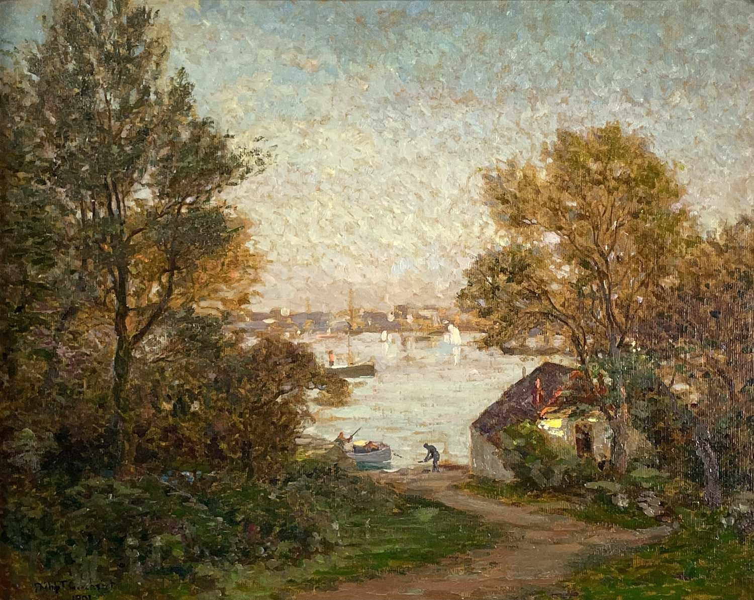 Philip Thomson GILCHRIST (1865-1956) An Evening in May, Falmouth Oil on canvas Signed and dated
