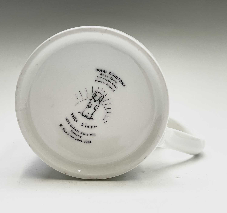 David HOCKNEY (1937) A Royal Doulton bone china mug showing a design of a dog by David Hockney for - Image 2 of 4