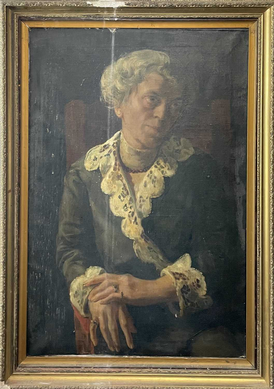Pre-War English school Portrait of a seated lady Oil on canvas 76x50cm - Image 7 of 7