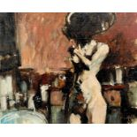 Neil DAVIES (XX) After the Bath Oil on board Signed, signed, inscribed and dated 1989 to verso