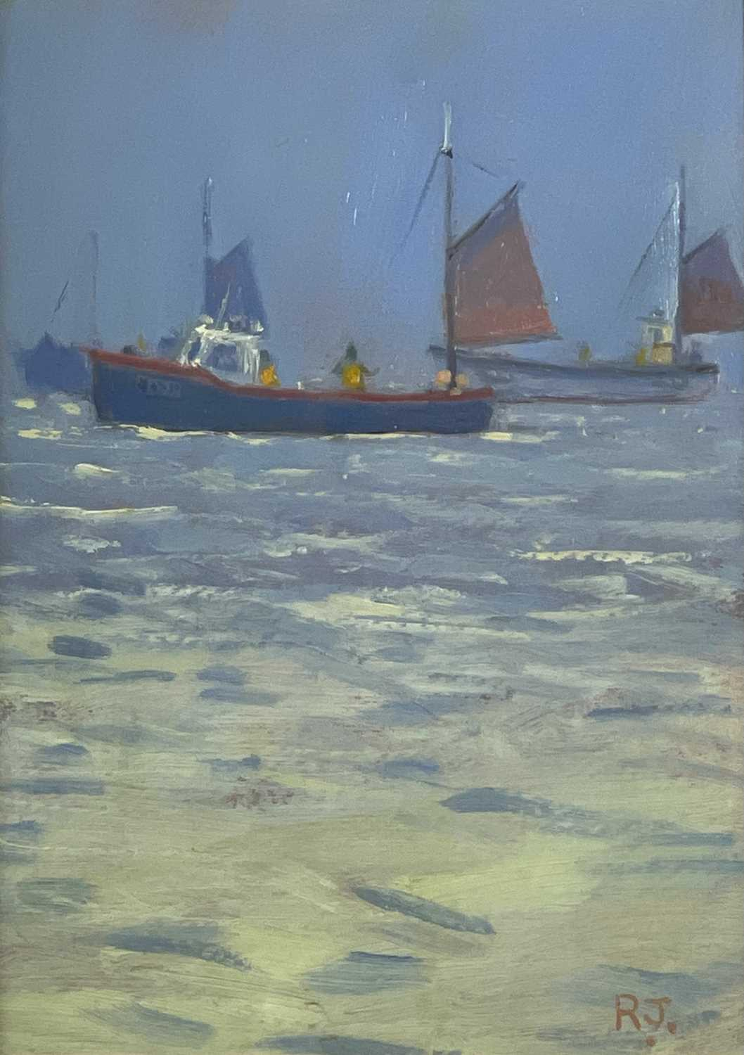 Robert JONES (1943)Mackerel Fishing Oil on board Initialled Signed, inscribed and dated 2003 to