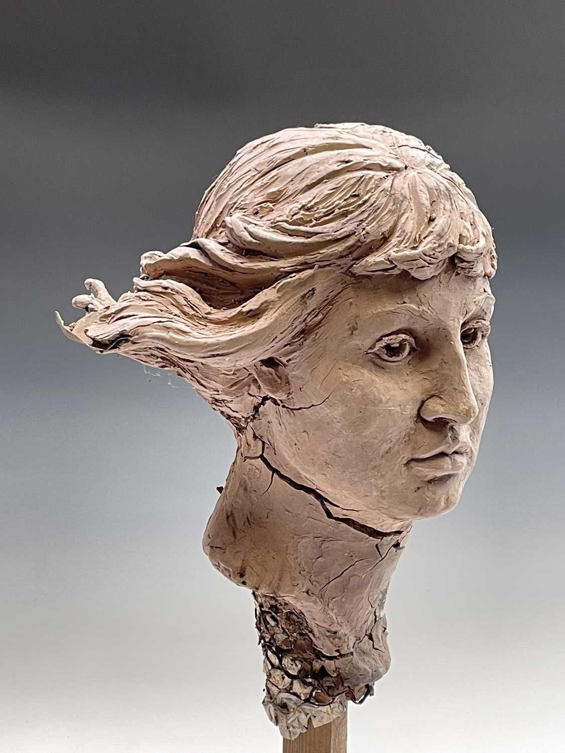 Alec WILES (1924)Female Head Clay sculpture Height 58cm - Image 7 of 17