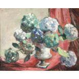 Edna D. BRIDGE (XX)Hydrangeas, Newlyn Oil on canvas Inscribed label to verso41 x 51cm