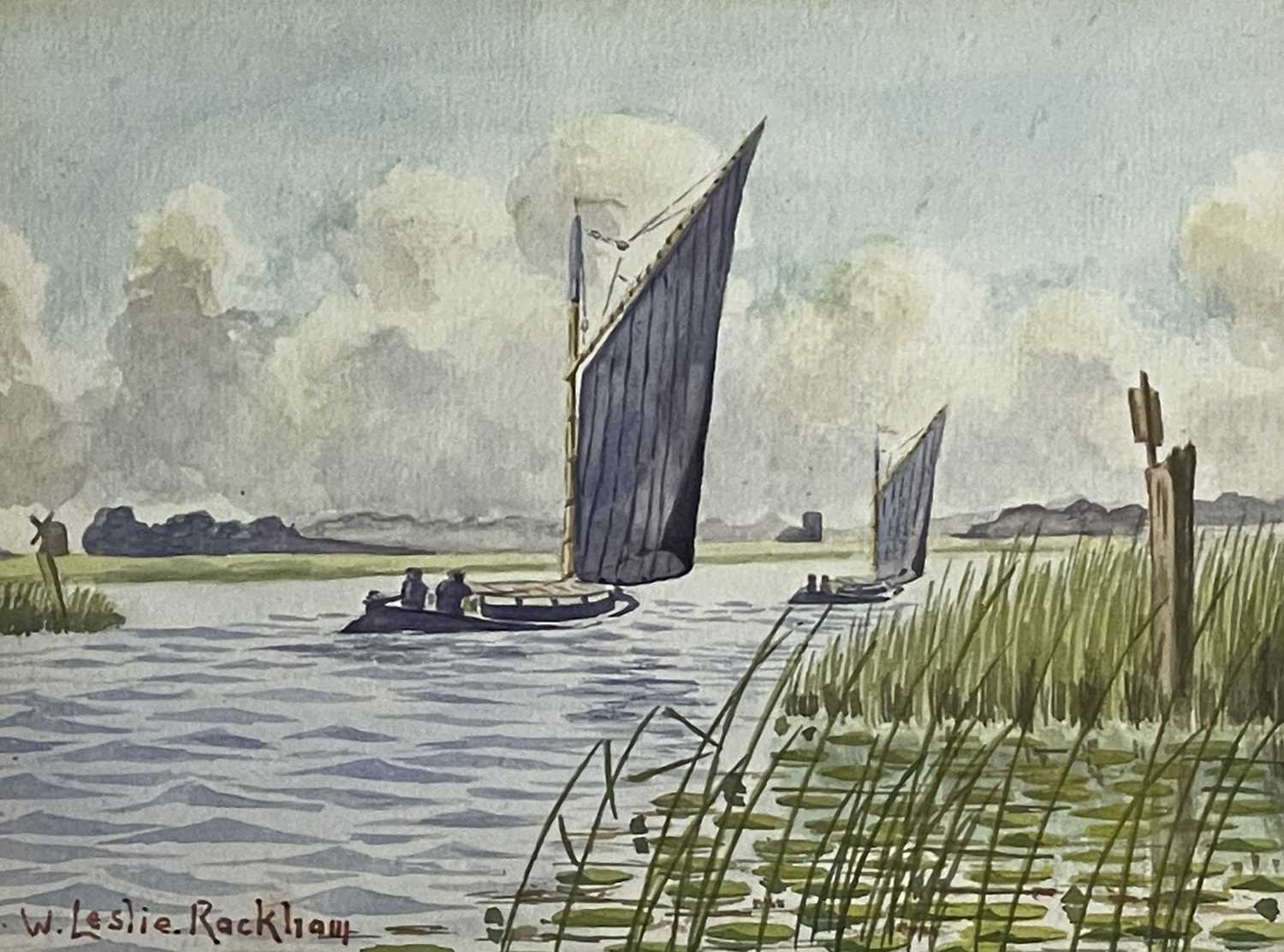 William Leslie RACKHAM (1864-1944)Sailing on the BroadsWatercolour Signed 15 x 20cmTogether with - Image 6 of 6