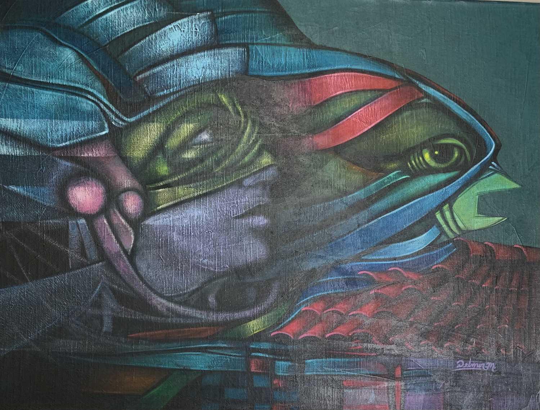 "Delmer Osvaldo MEJIA DUBON (XX) ""Migracion"" Oil on canvas Signed, inscribed to verso 46x61cm"