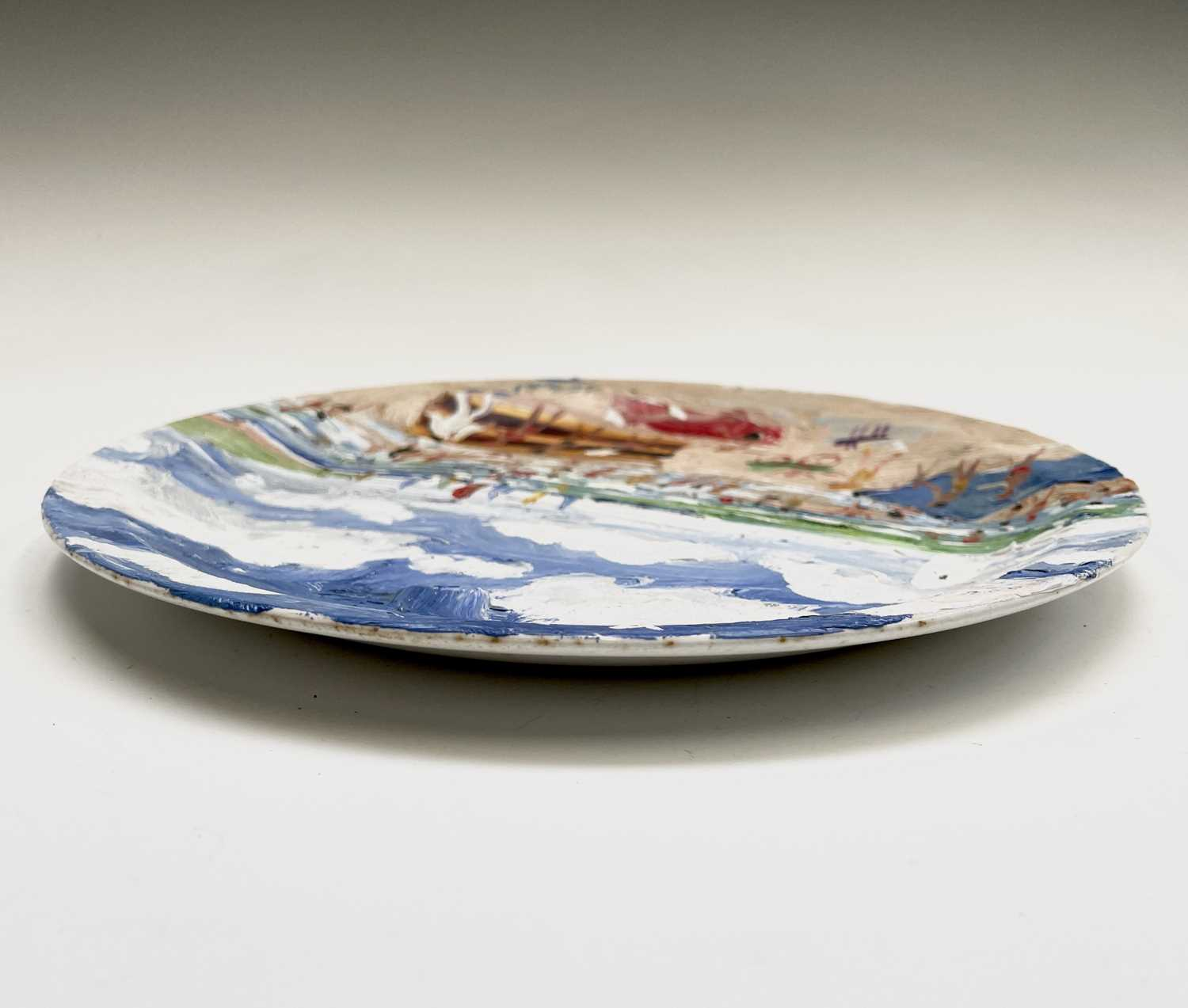 Simeon STAFFORD (1956)On the Beach - St Ives A painted plateSigned, dated and inscribed Diameter - Image 2 of 3