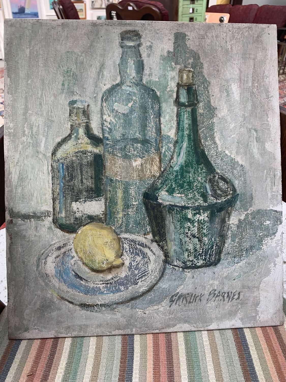 Garlick BARNES (1891-1987)Still Life - Bottles and a LemonOil on board Signed 41 x 36cm Garlick - Image 3 of 3