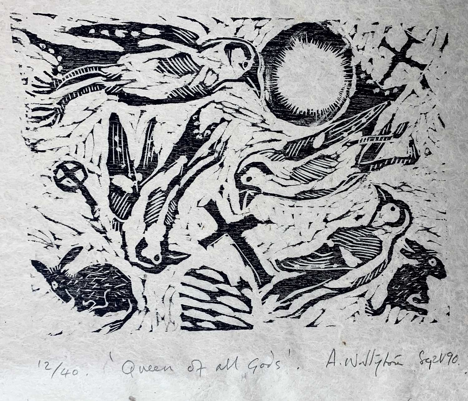 Andrew WADDINGTON God and Goddess A limited edition of four woodcuts 1990 Together in the Hendra - Image 4 of 9
