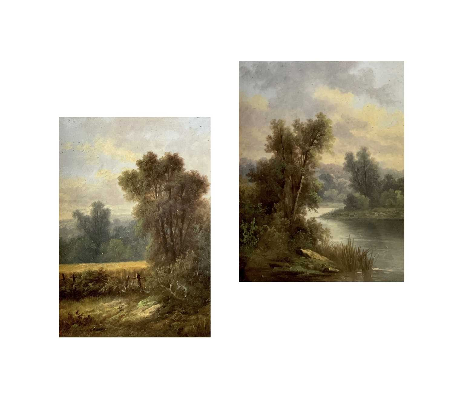 Victorian School A pair of landascapes Oil on canvas Each initialed A. S. 22x17cm