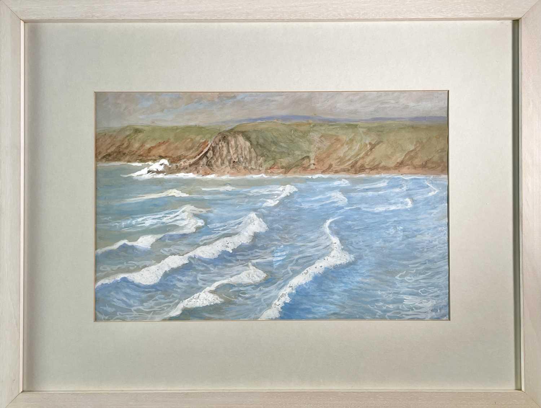 Lilian BLAND (1878-1971) (Aviator)Sennen SeascapeWatercolour/gouache28x43cmNews article to verso - Image 3 of 7