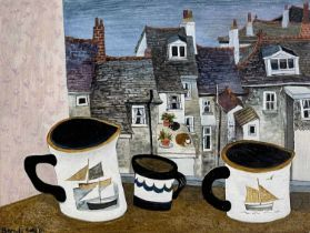 Brenda KING (1934-2011) Two Cats at Porthmeor Oil on board Signed and dated '91, further signed,