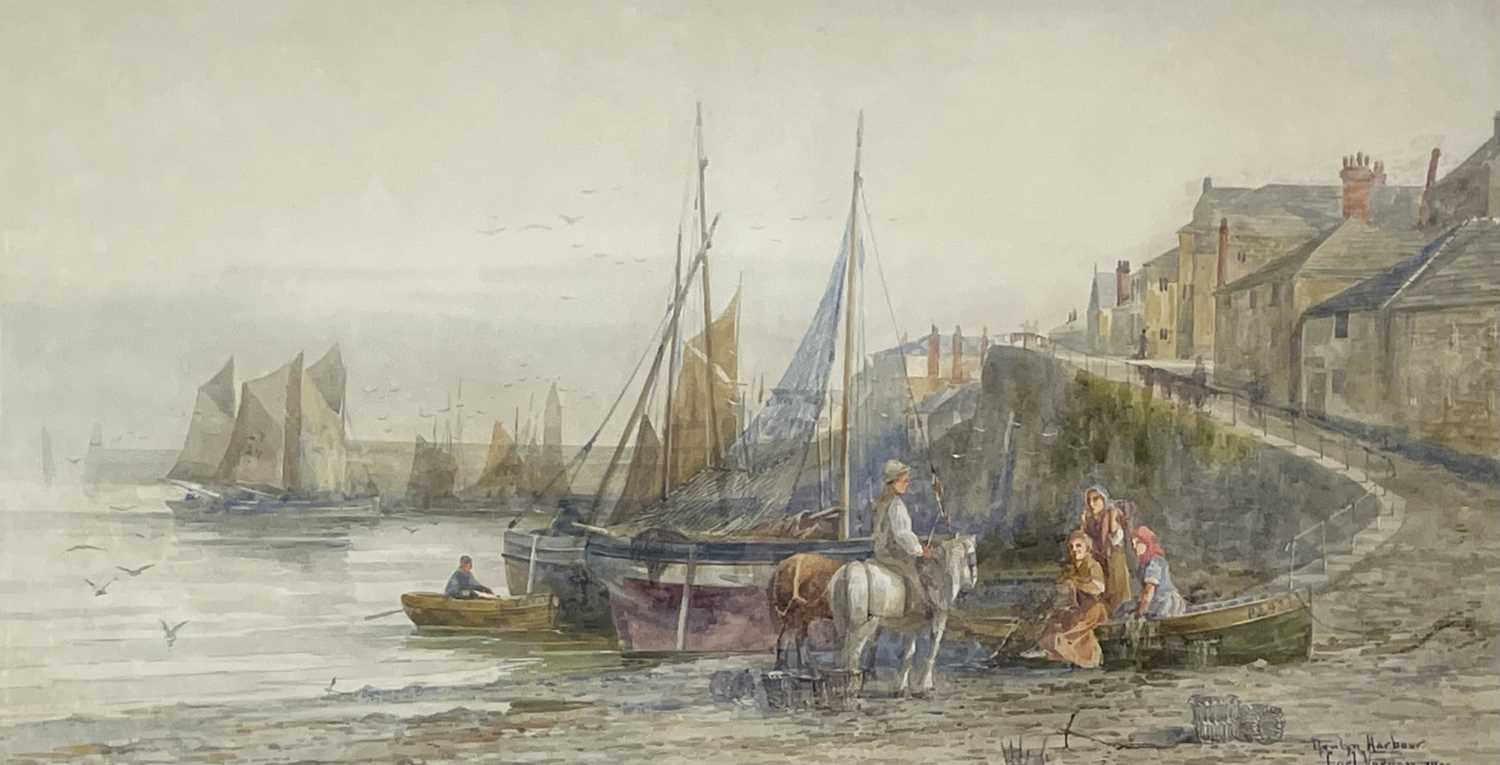 Carl VERNON Newlyn Harbour WatercolourSigned, inscribed and dated 190633 x 62cm