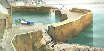 Michael J. PRAED (1941)Mousehole Habour With The Crane Oil on board Signed Further signed and