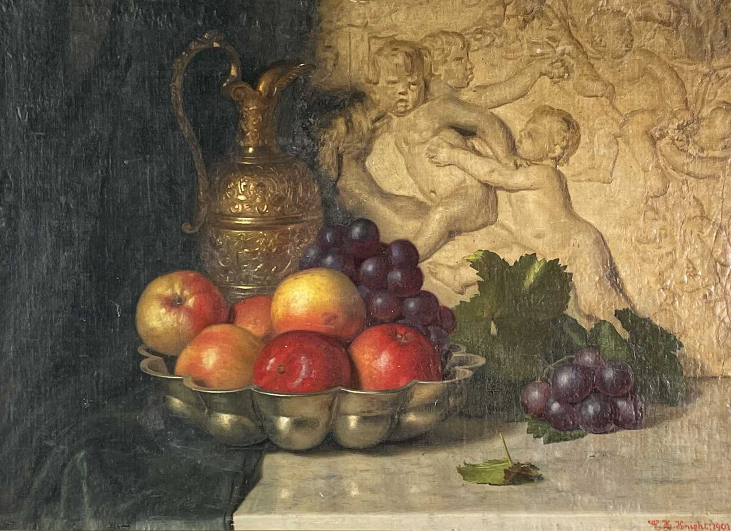 W. H. KNIGHT Still Life after Caravaggio Oil on canvas laid down Signed and dated 1901