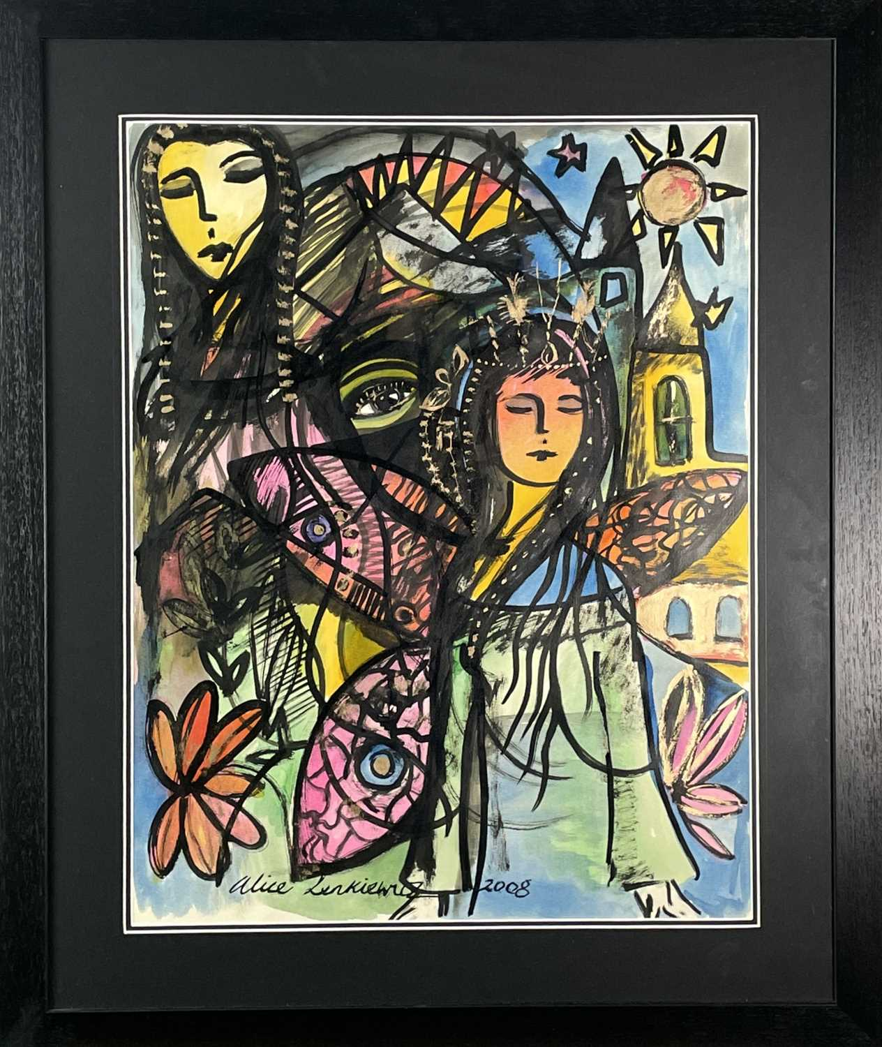 Alice LENKIEWICZ (1964)Abstract Figures Mixed media Signed and dated 2008 64 x 50cm - Image 3 of 3