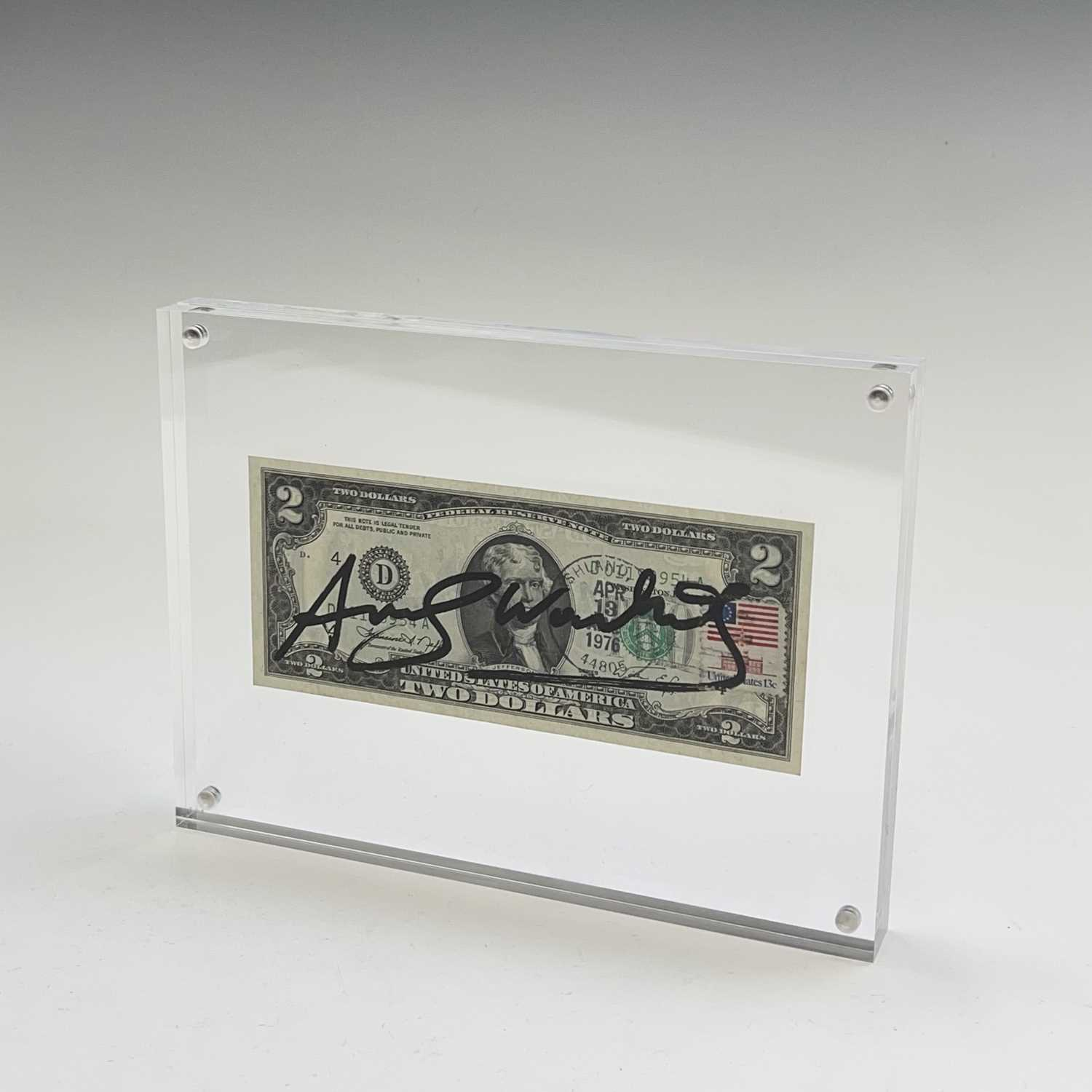 After Andy Warhol, a two-dollar banknote, bears signature, together with accompanying paperwork. - Image 14 of 14