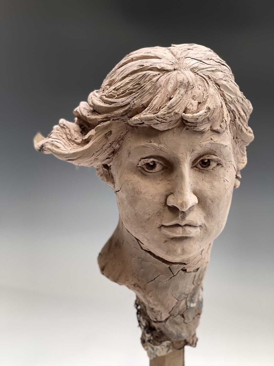 Alec WILES (1924)Female Head Clay sculpture Height 58cm - Image 2 of 17