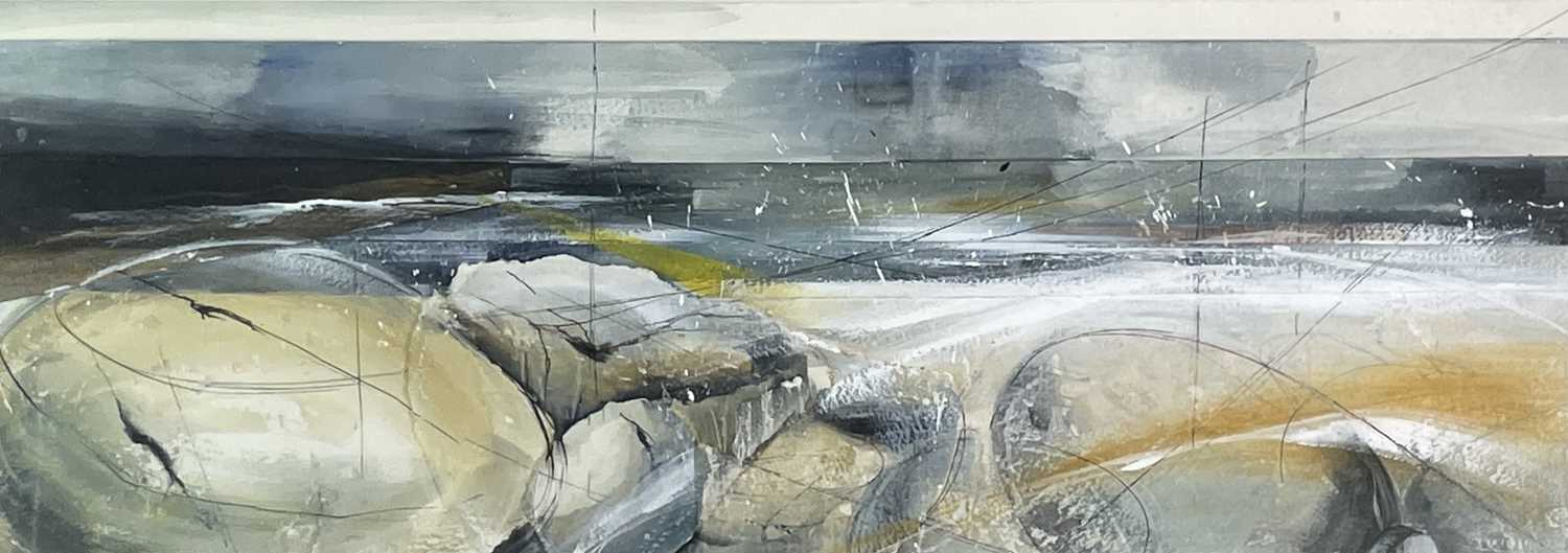Hannah WOODMAN (1968) 'A Southwest Wind Rippled The Shore' Mixed media Signed and titled to verso 26