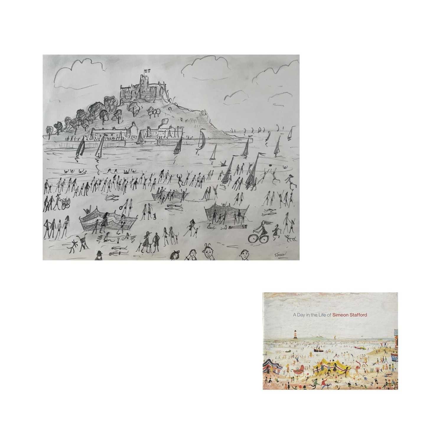 Simeon STAFFORD (1956)St Michael's Mount Pencil drawing on paper Signed Further signed and inscribed