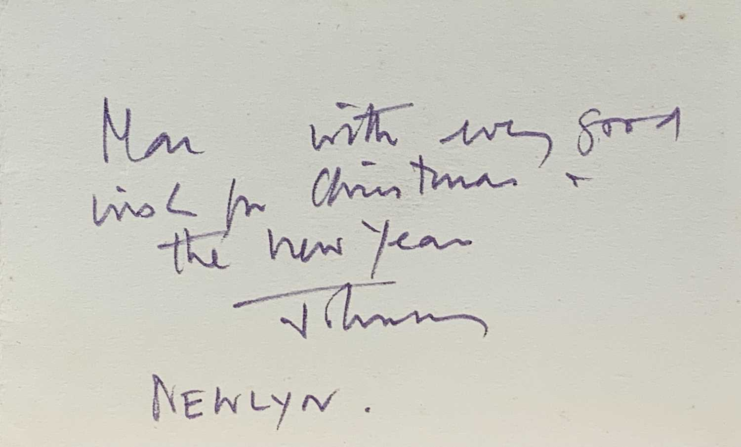 John WELLS (1907-2000) Christmas card to Alex MacKenzie Monotype Signed 8.5x14cm Together with a - Image 2 of 2