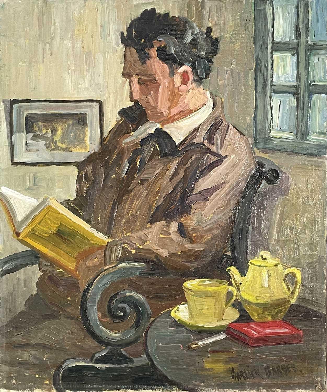 Garlick BARNES (1891-1987)Man Reading Oil on canvas Signed 61 x 51cm Garlick Barnes 1891-1987