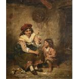 Attributed to Arthur HOPKINS (1848-1930) Children at Play Oil on canvas Signed with initials