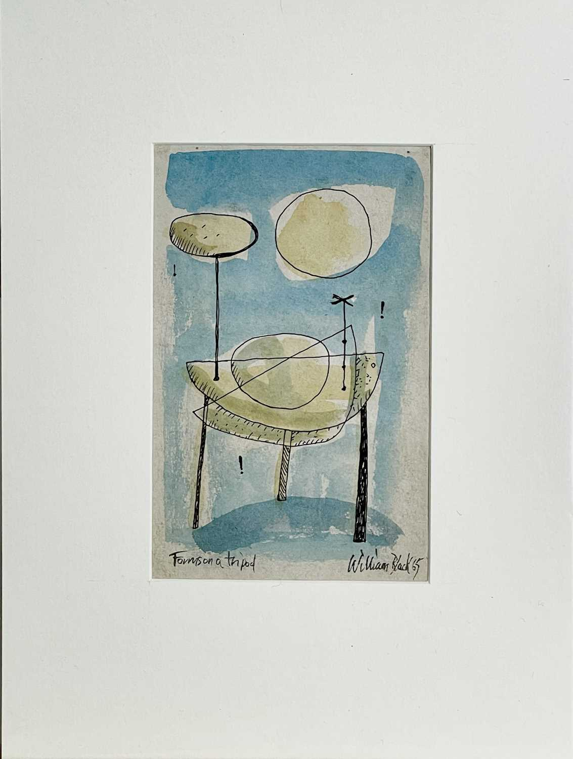 William BLACK (20th Century British)Forms on a Tripod Gouache and ink Signed, inscribed and dated ' - Image 2 of 2