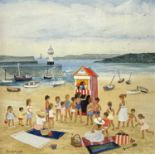 Brenda KING (1934-2011) Punch & Judy, St Ives Oil on board Signed and dated 1984, inscribed to verso