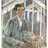 Alec WILES (1924) The Gardener Oil on board Signed, Remnants of Truro Art Society label to verso