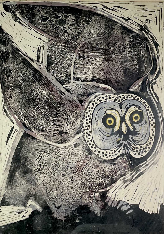 Contemporary British School Owl Lithograph 70x49cm sight size