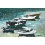 Jack PENDER (1918-1998)Moored Boats, 1988Oil on board Signed Label to verso 21 x 31cmCondition