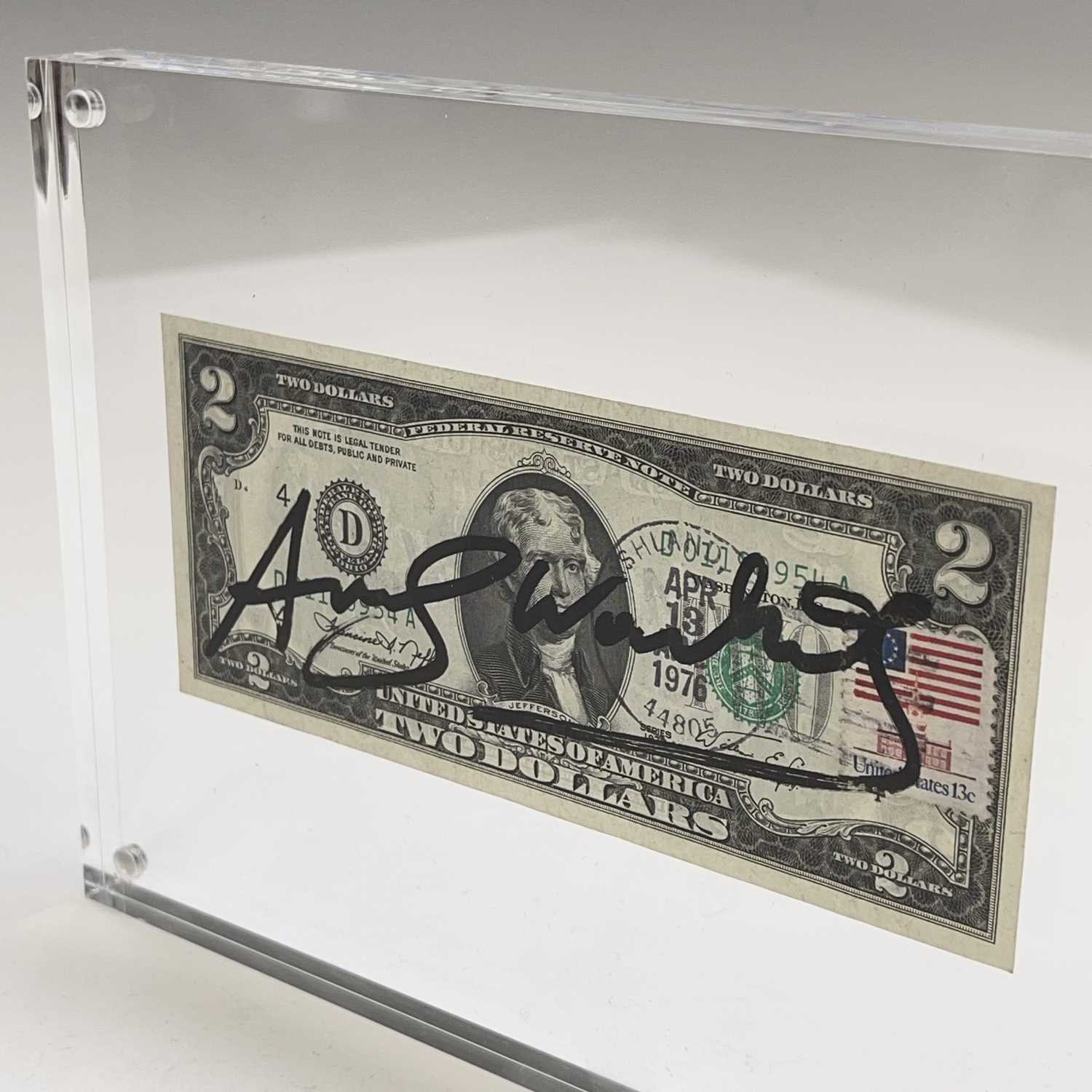 After Andy Warhol, a two-dollar banknote, bears signature, together with accompanying paperwork. - Image 5 of 14