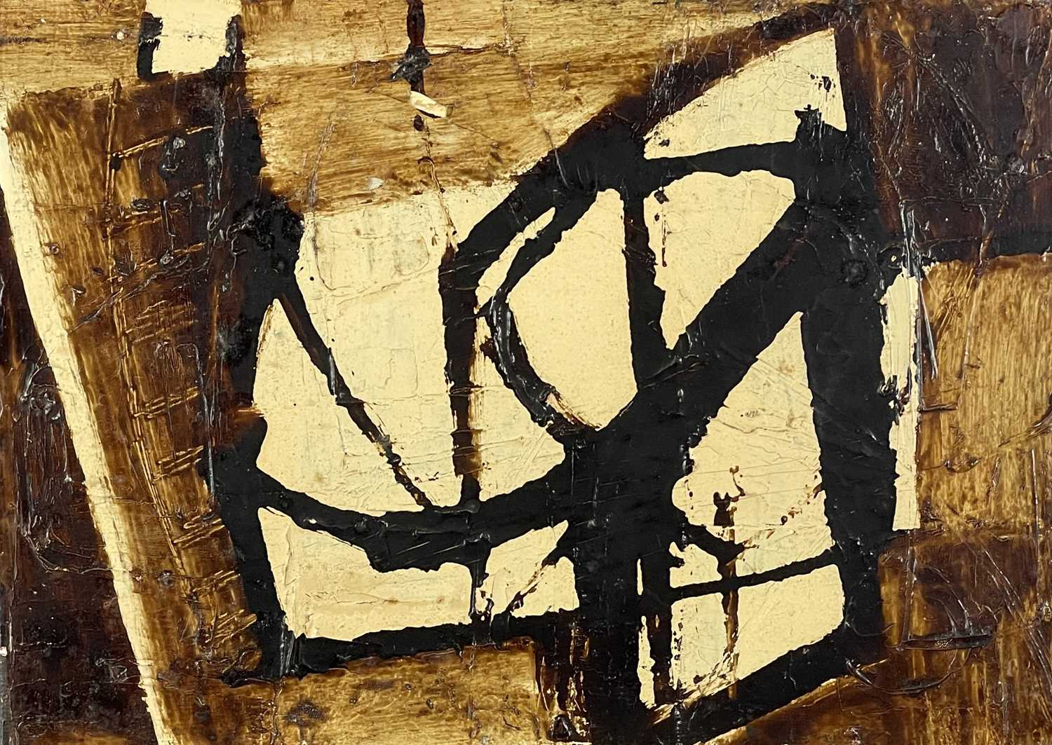 Patrick OLIVER (1933-2009) Newlyn Harbour, DrawingMixed media (stove enamel and oil on board)Signed,