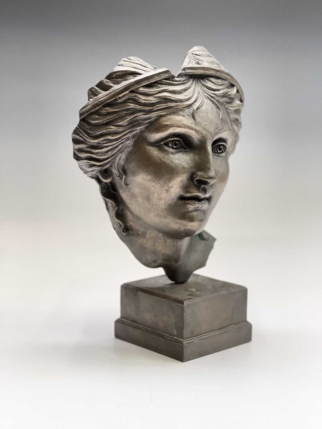 Alec WILES (1924)Aphrodite Bronzed resin mask and plinth Height 35cm - Image 3 of 8