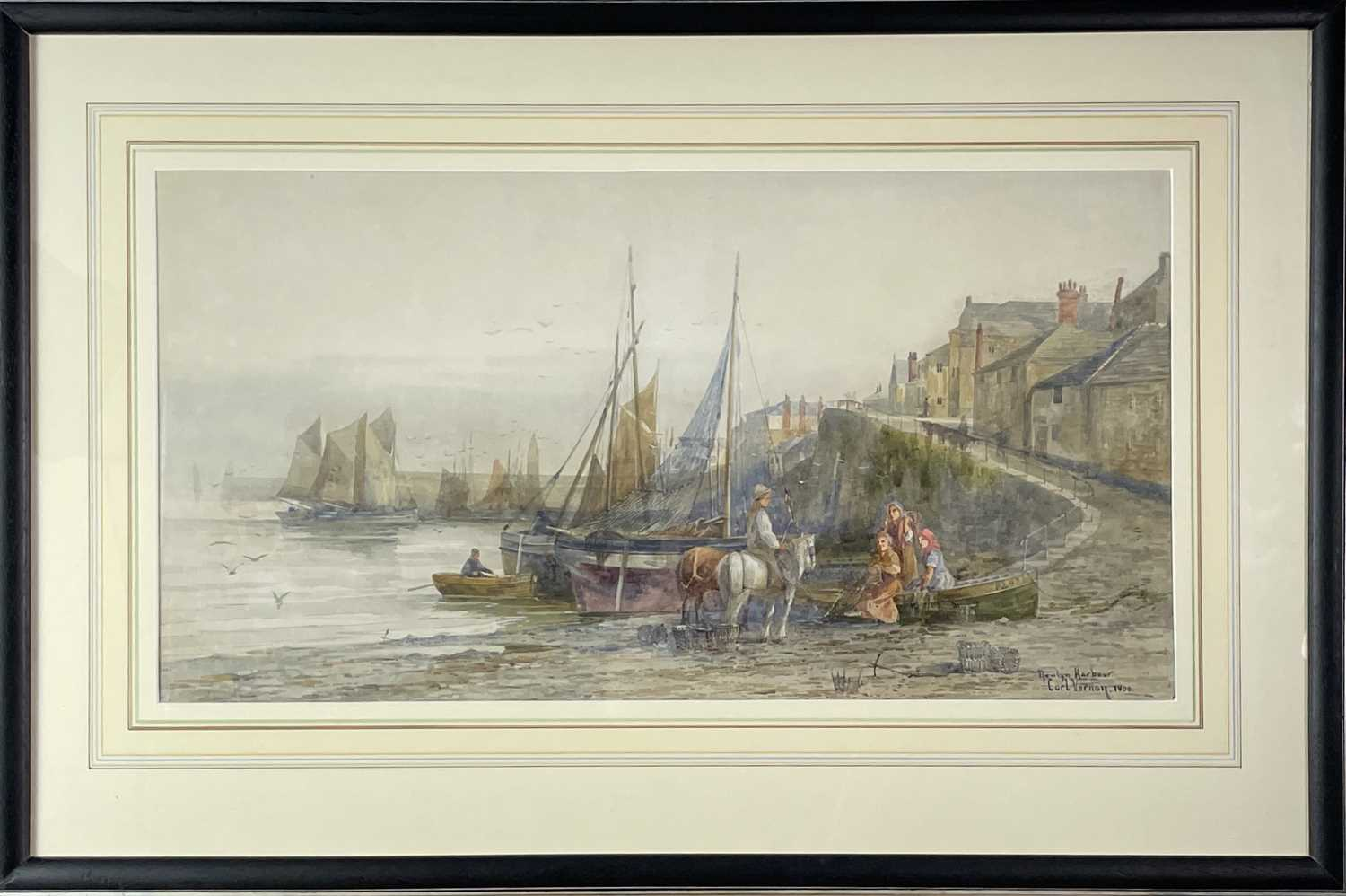 Carl VERNON Newlyn Harbour WatercolourSigned, inscribed and dated 190633 x 62cm - Image 2 of 3