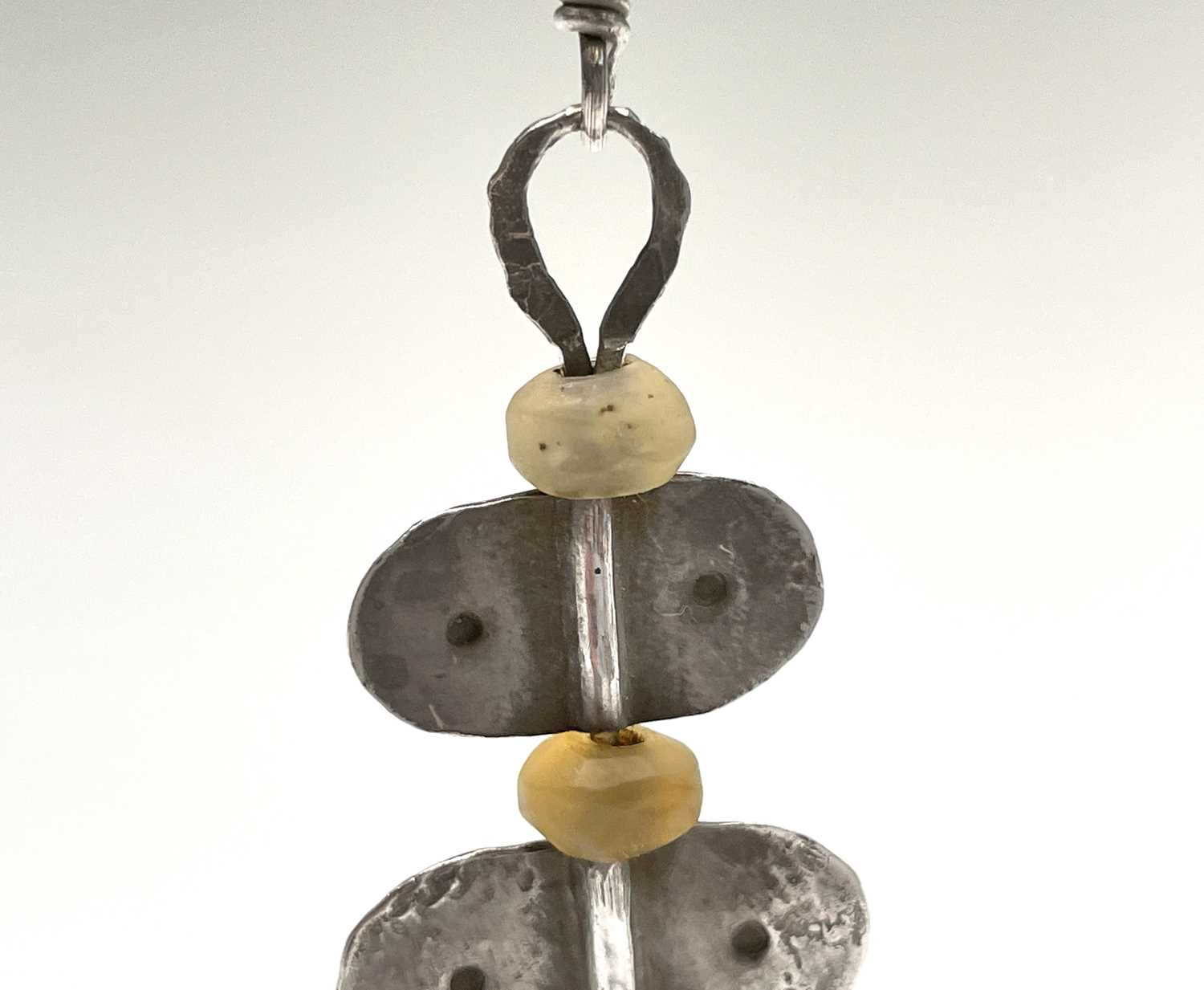 A pair of stone bead and silver Guy Royle earrings, length 6cm. - Image 9 of 10