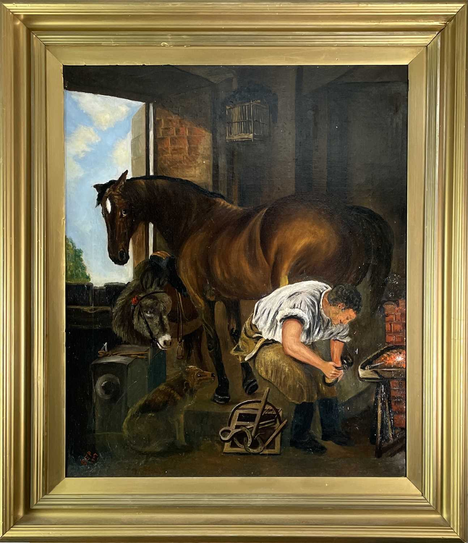 After Edwin Landseer Blacksmith Oil on canvas 76x63cm - Image 2 of 3
