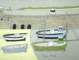 Bryan PEARCE (1929-2006)Four Boats - St Ives Harbour Pastel Signed 24 x 32cmA gift to the vendor