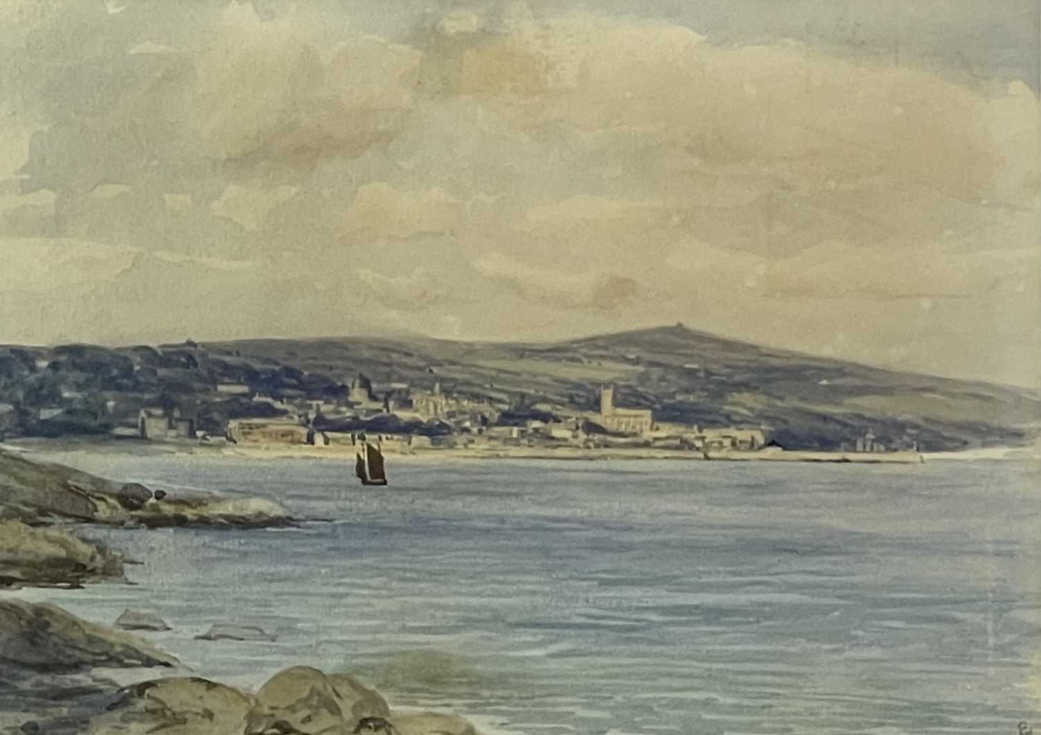 Edmund G. FULLER (1858-1944)Penzance from Newlyn Watercolour Signed and inscribed 17.5 x 24.5cm