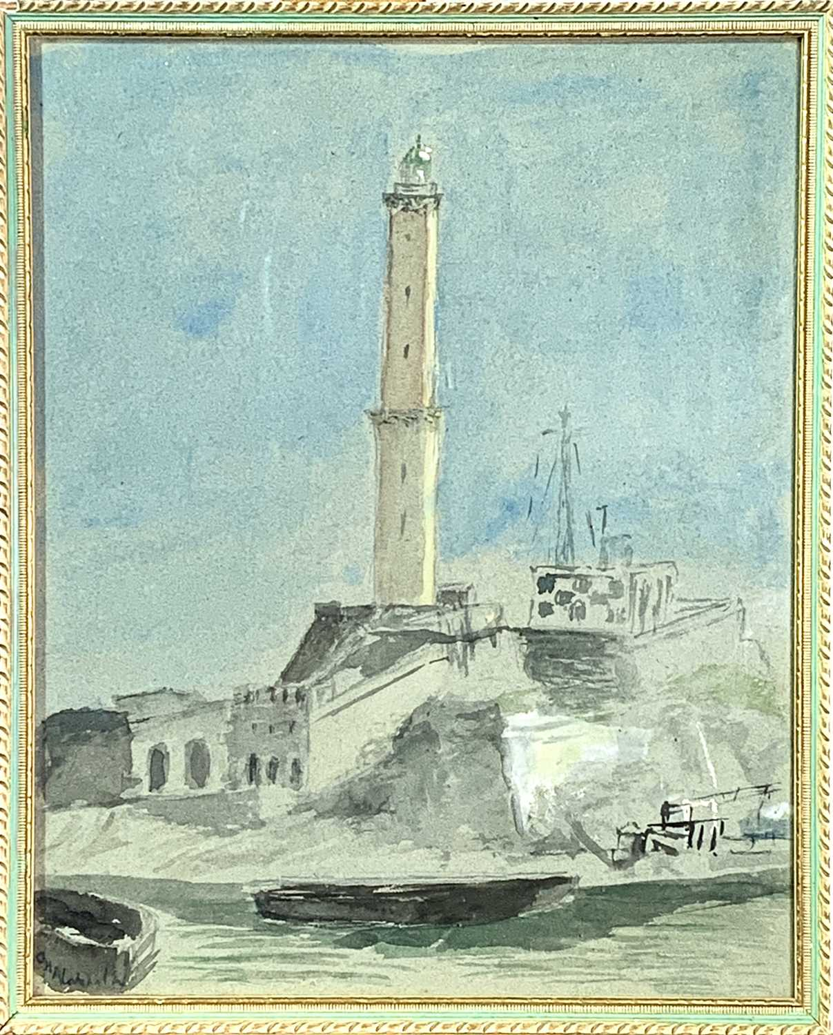 Attributed to Samuel Owen Marine Watercolour Together with a watercolour of a lighthouse by George H - Image 4 of 6