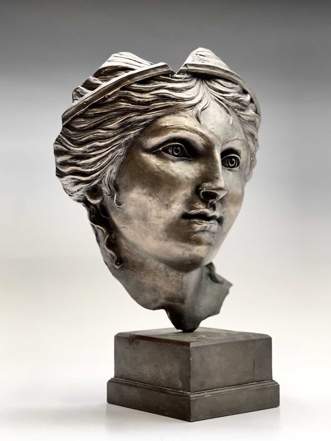 Alec WILES (1924)Aphrodite Bronzed resin mask and plinth Height 35cm