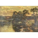 Victorian School River Landscape with Sheep Oil on canvas 41x55cm