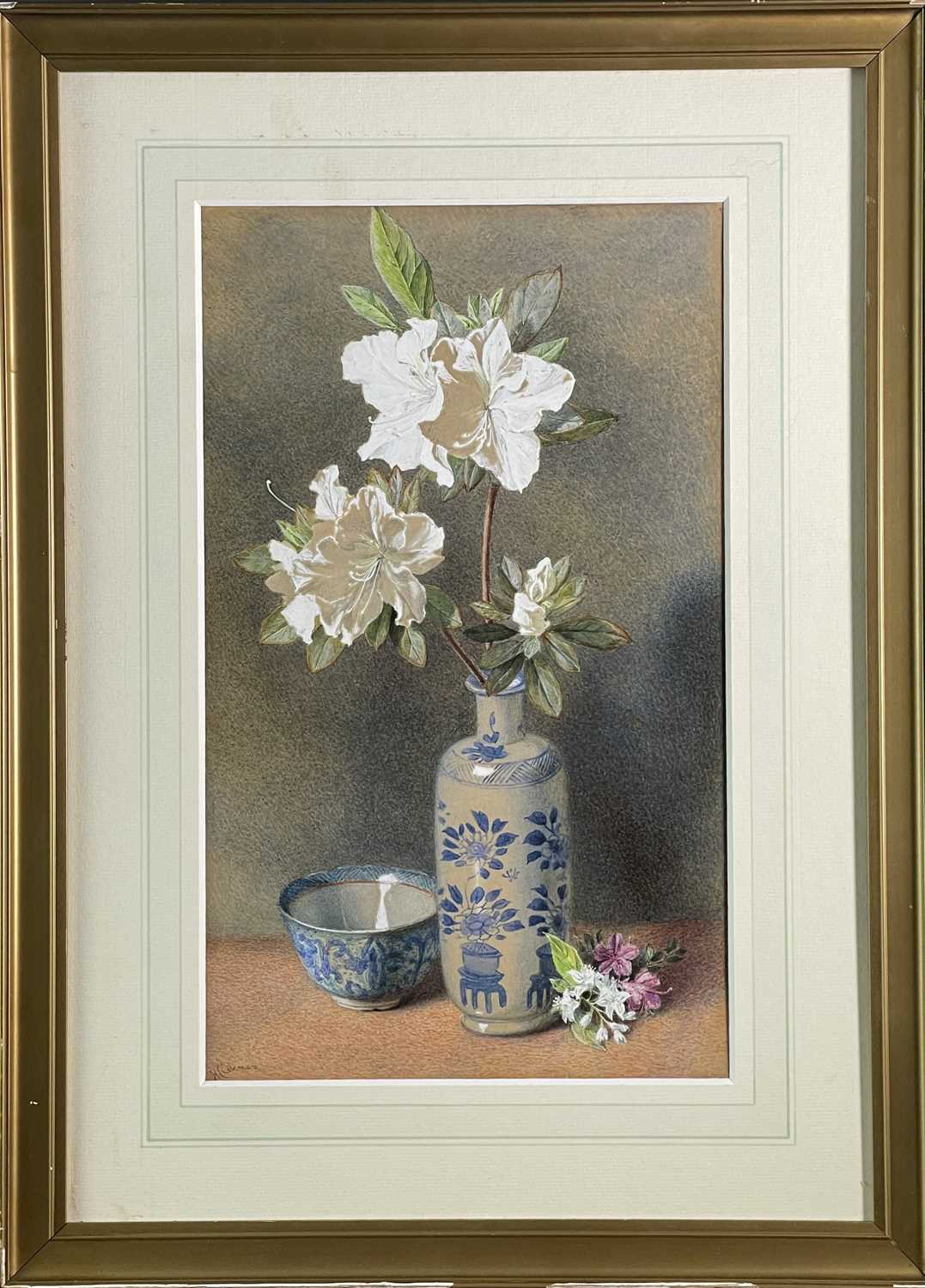Helen Cordelia ANGELL COLEMAN (1847-1884) Azelias in a Blue and White Vase Watercolour Signed - Image 2 of 3