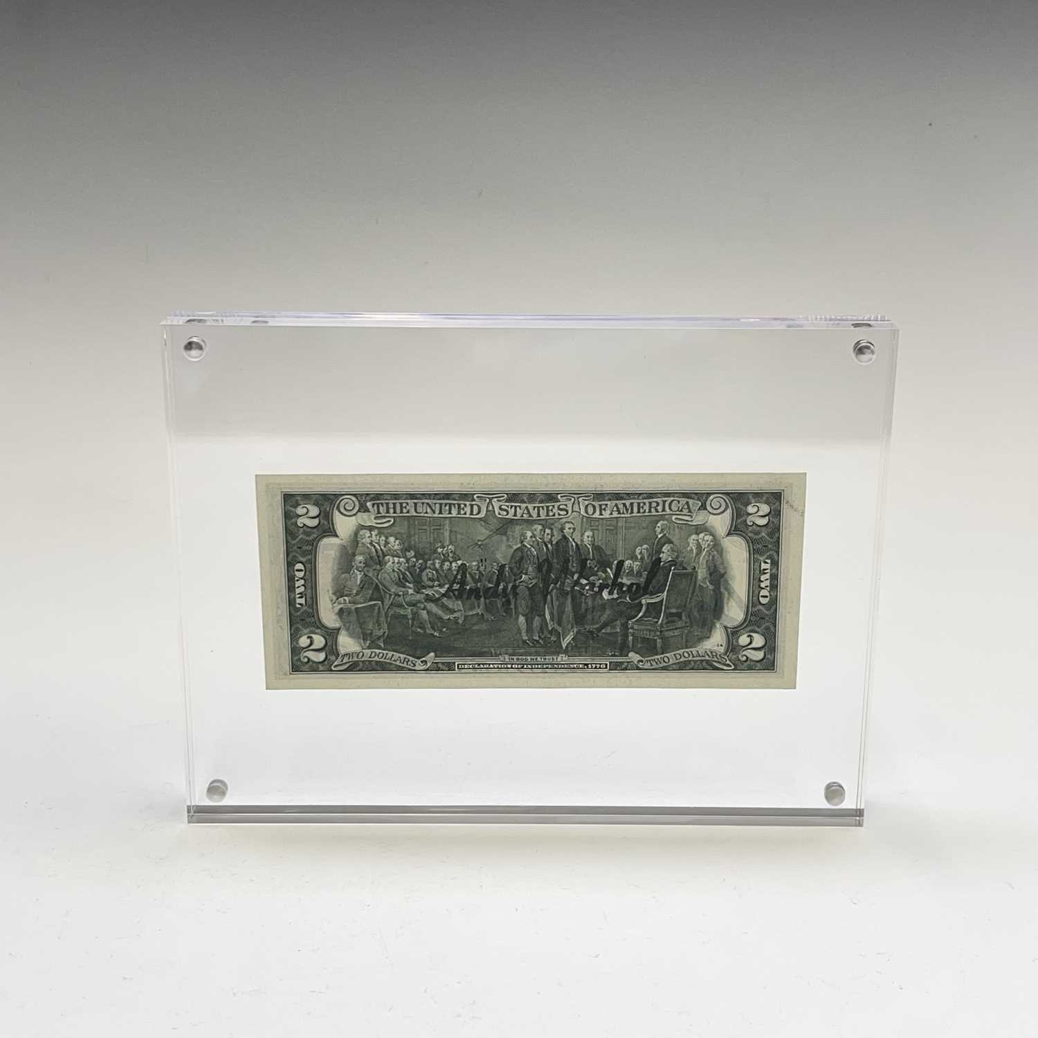 After Andy Warhol, a two-dollar banknote, bears signature, together with accompanying paperwork. - Image 2 of 10