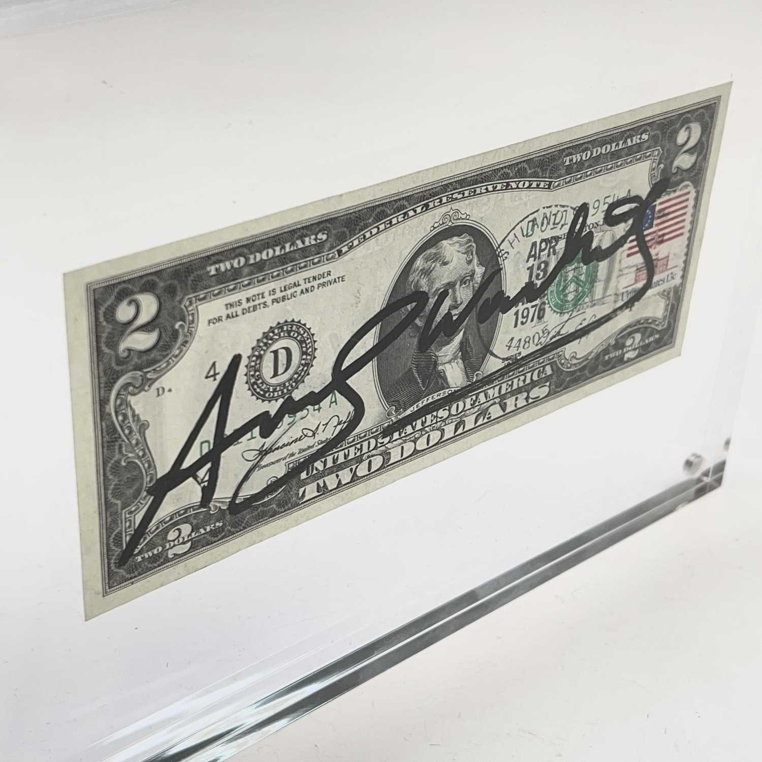 After Andy Warhol, a two-dollar banknote, bears signature, together with accompanying paperwork. - Image 4 of 14