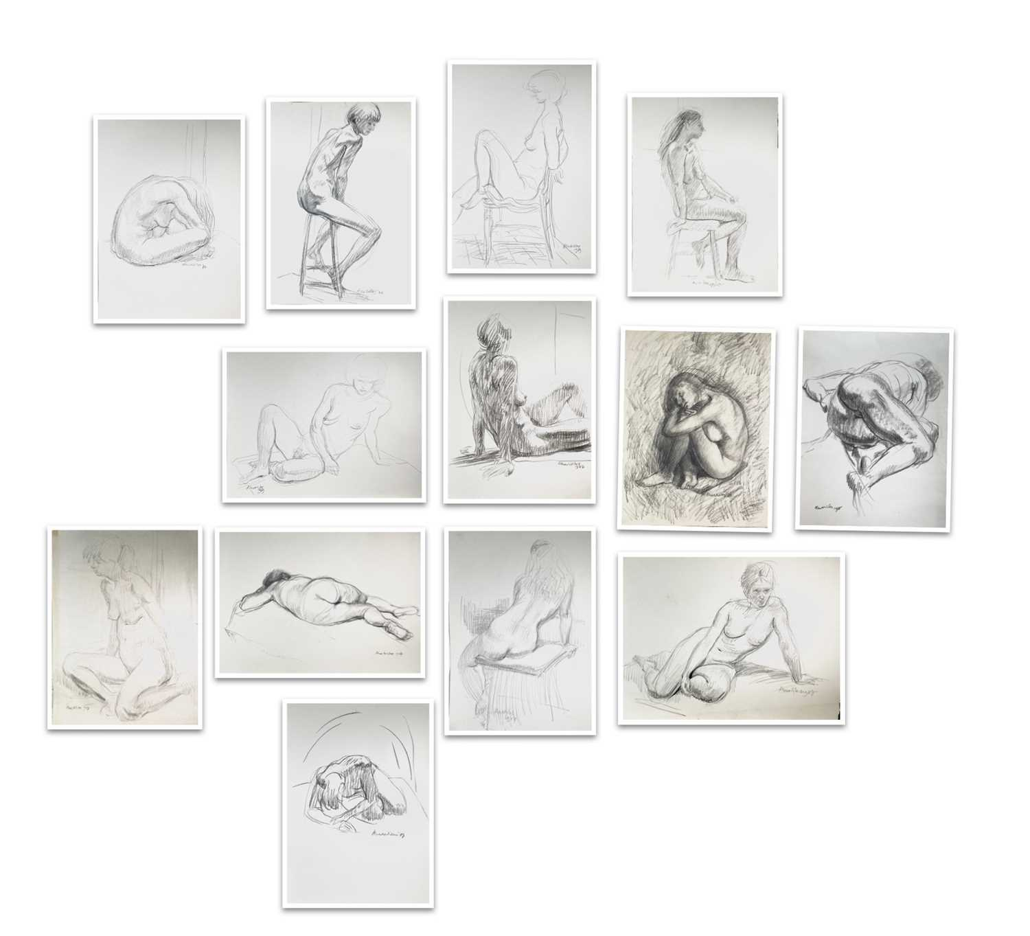 Alec WILES (1924) Nude drawings A collection of thirteen Mostly signed Mostly 60x42 Together with - Image 13 of 46